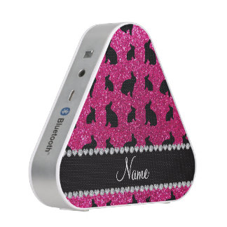 Personalized name neon hot pink glitter bunny bluetooth speaker