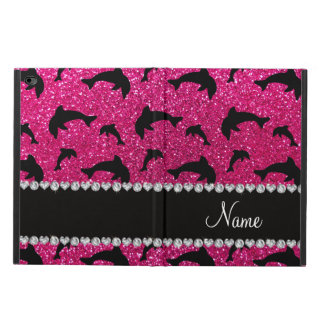 Personalized name neon hot pink glitter dolphins powis iPad air 2 case
