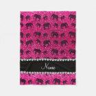 Personalized name neon hot pink glitter elephants fleece blanket