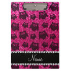 Personalized name neon hot pink glitter owls clipboard
