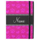 "Personalized name neon hot pink hearts and paws iPad pro 12.9"" case"