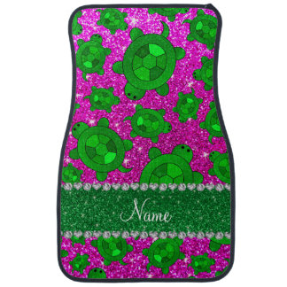Personalized name neon pink glitter sea turtles car mat