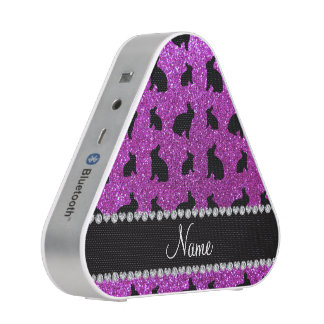 Personalized name neon purple glitter bunny bluetooth speaker