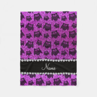 Personalized name neon purple glitter owls fleece blanket