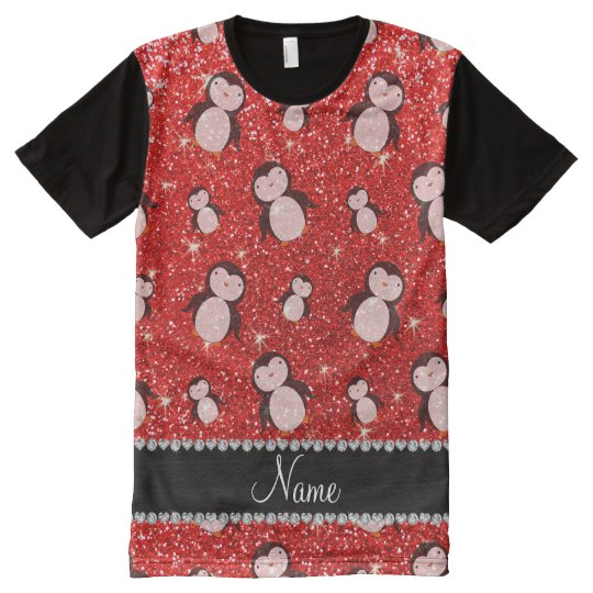 Personalized name neon red glitter penguins All-Over-Print T-Shirt