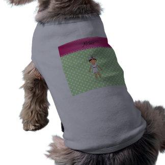 Personalized name nurse green polka dots doggie tshirt