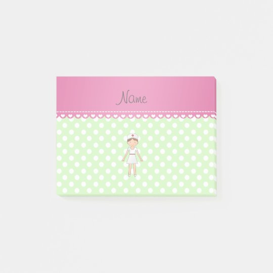 Personalized name nurse green polka dots post-it notes