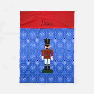 Personalized name nutcracker blue snowman trellis fleece blanket