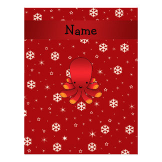 Personalized name octopus red snowflakes letterhead