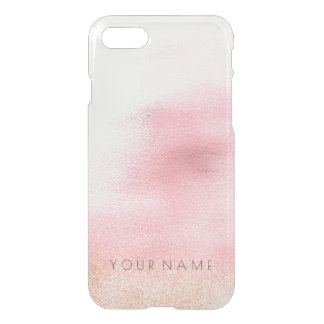Personalized Name Ombre Golden White Pink  iPhone iPhone 8/7 Case
