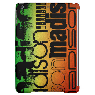Personalized Name on Neon Orange Yellow & Green iPad Air Covers
