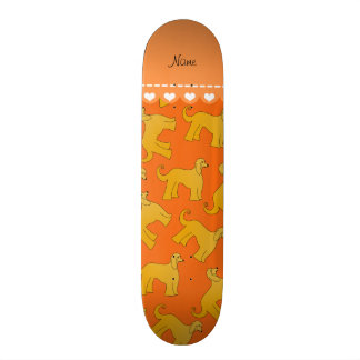 Personalized name orange afghan hound dogs skateboards