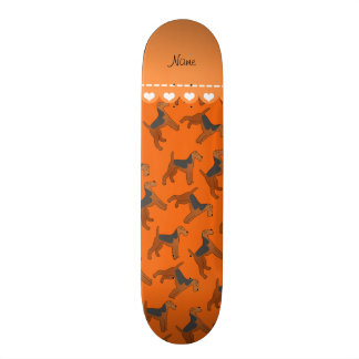 Personalized name orange airedale terriers dogs skateboard