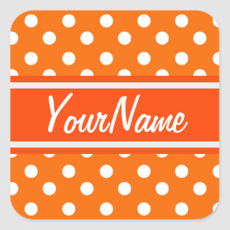 Personalized Name Orange and White Polka Dots Square Sticker