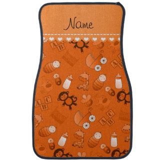 Personalized name orange baby animals floor mat