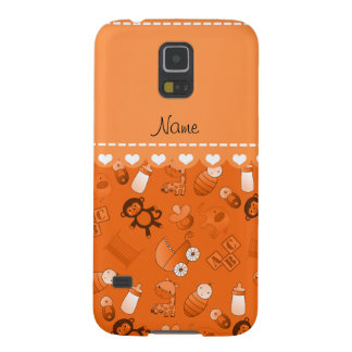 Personalized name orange baby animals galaxy s5 covers