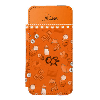 Personalized name orange baby animals incipio watson™ iPhone 5 wallet case