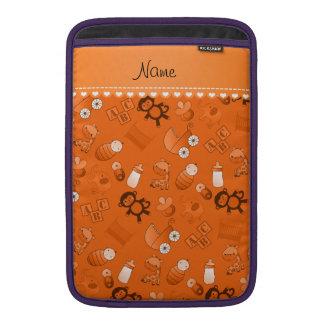 Personalized name orange baby animals MacBook air sleeve