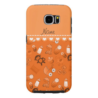 Personalized name orange baby animals samsung galaxy s6 cases
