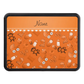 Personalized name orange baby animals trailer hitch cover