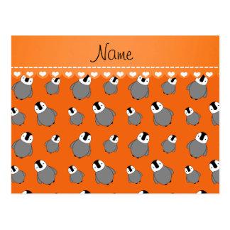 Personalized name orange baby penguins postcard