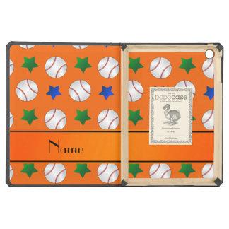 Personalized name orange baseball blue green stars iPad air cases