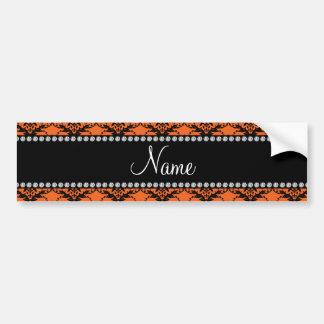 Personalized name Orange black damask Bumper Stickers