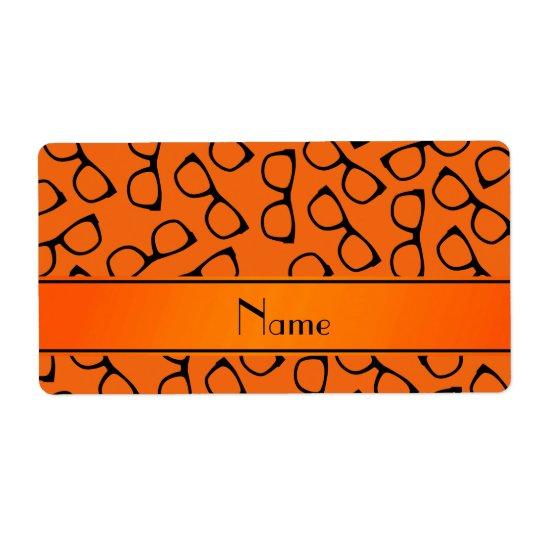 Personalized name orange black glasses