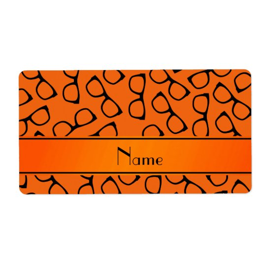 Personalized name orange black glasses shipping label