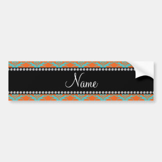 Personalized name Orange blue damask Bumper Stickers