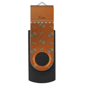 Personalized name orange brown owls pattern USB flash drive