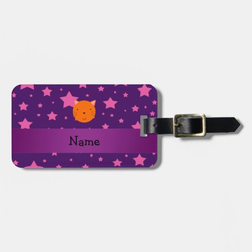 Personalized name orange cat face purple pink star tag for luggage