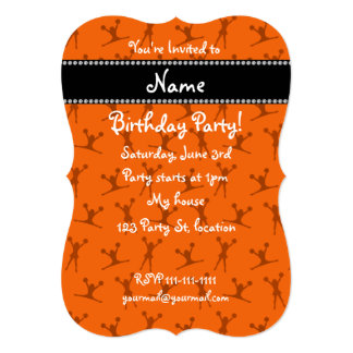 Personalized name orange cheerleader pattern card
