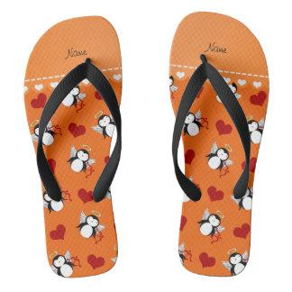 Personalized name orange cupid penguins red hearts flip flops
