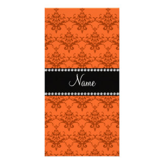 Personalized name Orange damask Picture Card