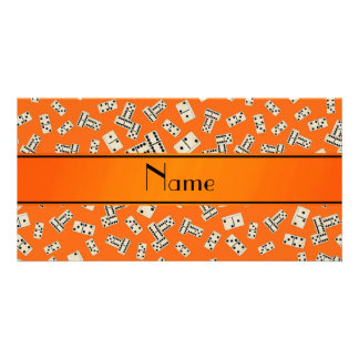 Personalized name orange dominos personalized photo card