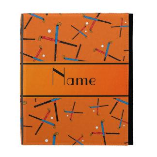 Personalized name orange field hockey pattern iPad folio cover