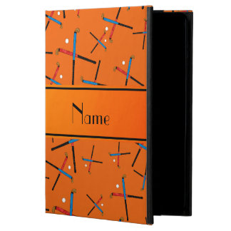 Personalized name orange field hockey pattern cover for iPad air