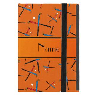 Personalized name orange field hockey pattern iPad mini covers