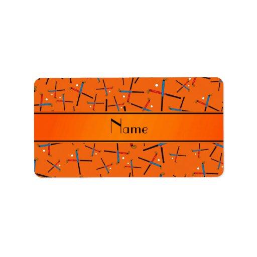 Personalized name orange field hockey pattern personalized address labels
