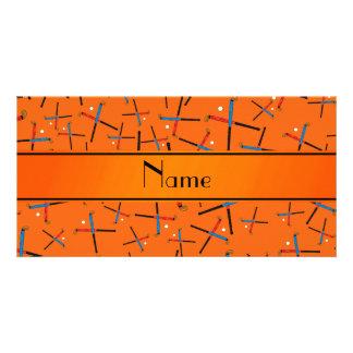 Personalized name orange field hockey pattern personalized photo card