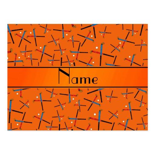 Personalized name orange field hockey pattern post card