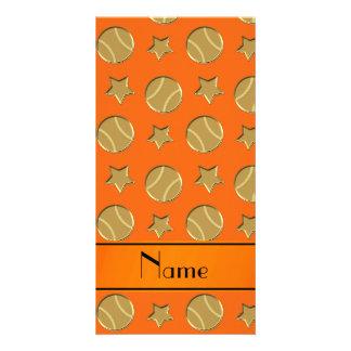 Personalized name orange gold baseballs stars photo card