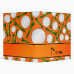 Personalized name orange golf balls tees vinyl binder