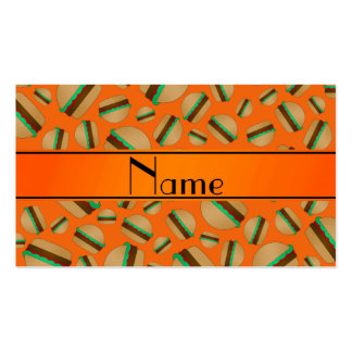 Personalized name orange hamburger pattern business card template