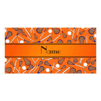 Personalized name orange lacrosse pattern photo greeting card