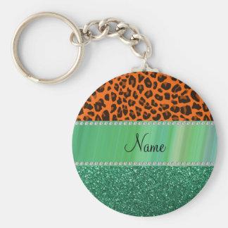 Personalized name orange leopard green glitter keychains