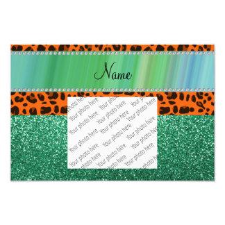 Personalized name orange leopard green glitter photograph