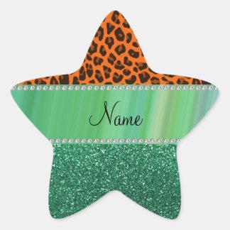 Personalized name orange leopard green glitter stickers