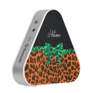 Personalized name orange leopard print green bow bluetooth speaker